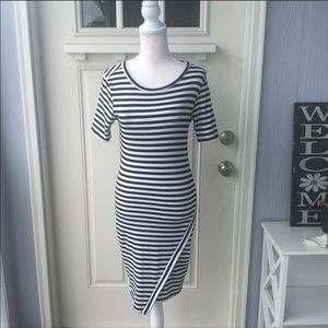J for Justify Black & White Striped Midi